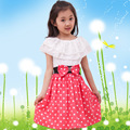 2016 New Korean Girls  Summer  Children Polka Dot Dress Clothing Baby Girl Clothes 9 Years Summer Dress