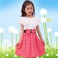 2016 Nueva Corea Del Summer Girls Niños Polka Dot Dress Ropa de Bebé Ropa de Niña de 9 Años Vestido de Verano