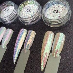 Image 1 - 3กระปุก/ชุดAurora Glitter Mermaid Unicorn Sequins 3Dเล็บChrome Pigmentเล็บGlitterตกแต่งผงSUPER SHININGผล