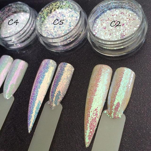 3กระปุก/ชุดAurora Glitter Mermaid Unicorn Sequins 3Dเล็บChrome Pigmentเล็บGlitterตกแต่งผงSUPER SHININGผล