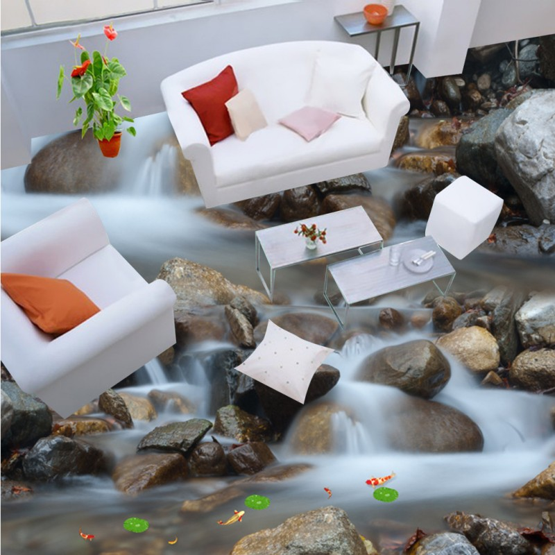 Free Shipping River Stones Stream Falls Bathroom 3D Floor thickened living room bedroom restaurant flooring wallpaper mural free shipping flowing water making money streams falls river 3d floor painting bedroom living room bathroom wallpaper mural
