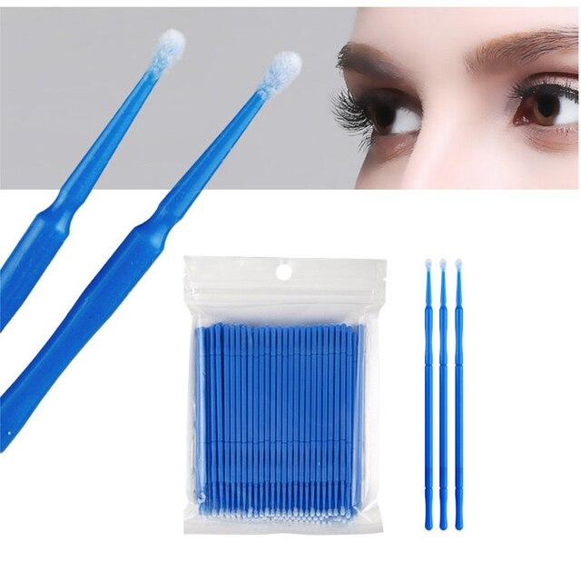 VVHUDA desechables Micro cepillos 100 piezas pestañas varitas de pelusa Microbrush de microfibra de punta de bastoncillo aplicador de maquillaje