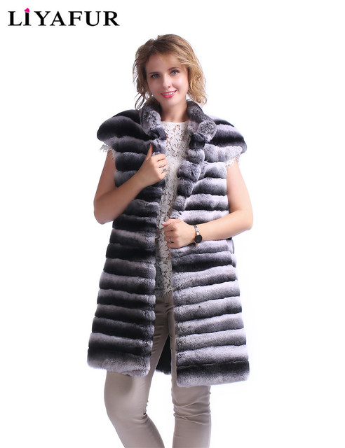 LIYAFUR New Real Rex Rabbit Chinchilla Fur Long Vest for Women Fashion Gilet Winter Warm Stand Collar Waistcoat Cover Shoulder