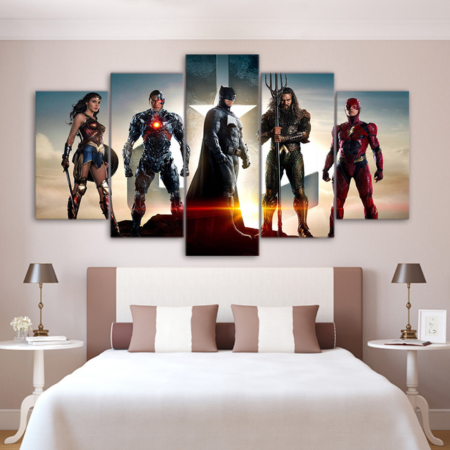 HD Printed 5 Pieces Frame Home Decor Movie Characters Posters Modular Pictures Justice League Painting On Canvas Wall Art Poster