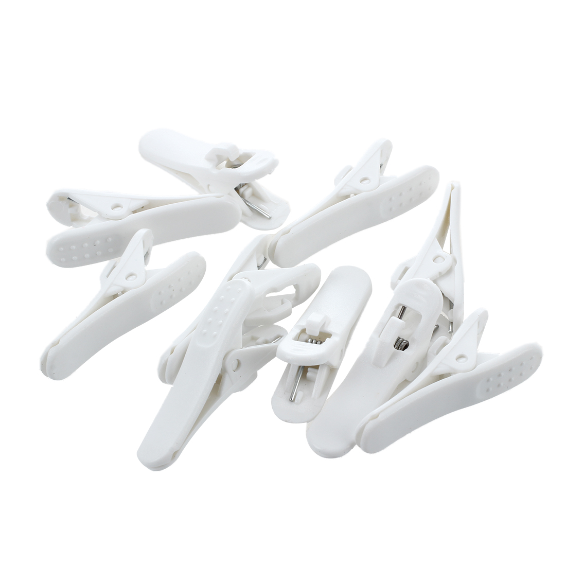 White Plastic Headphone Earphone Cable Wire Clip Nip Holder 10 Pcs