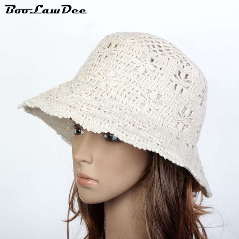 BooLawDee Spring and summer wool blending bucket hats tourism cap with floral pattern unisex beach sun protection caps 01D-6