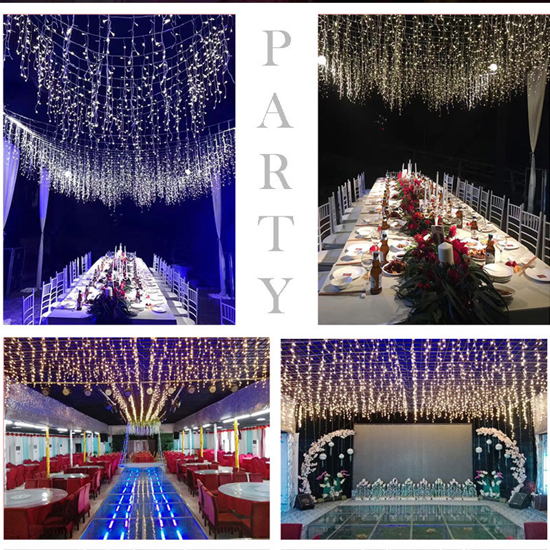 New Christmas Garland LED Curtain Icicle String Light 220V 4*0.6m Indoor Drop LED Party Garden Stage Outdoor Decorative Lighting