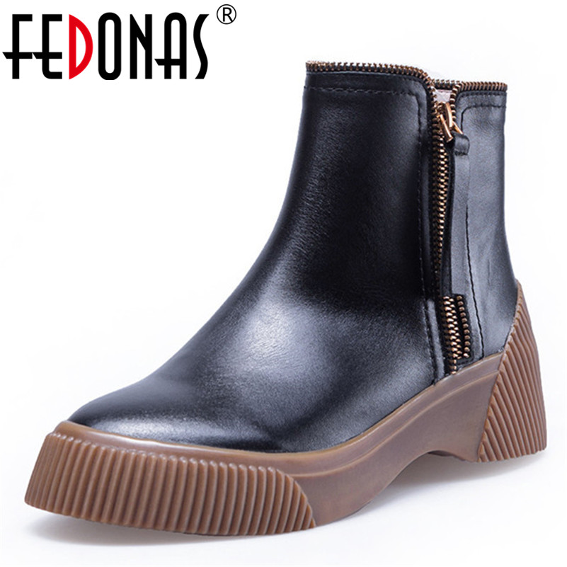 FEDONAS New Women High Heels Ankle Boots Zipper Round Toe Autumn Winter Genuine Leather Short Boots Party Club Pumps Female Shoe 2018 new arrival genuine leather zipper runway autumn winter boots round toe high heels keep warm elegant women ankle boots l29