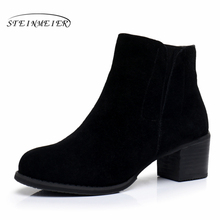 купить Genuine Leather Ankle Boots Comfortable quality soft Shoes Brand Designer Handmade grey black US size 9.5 with fur 2018 spring онлайн