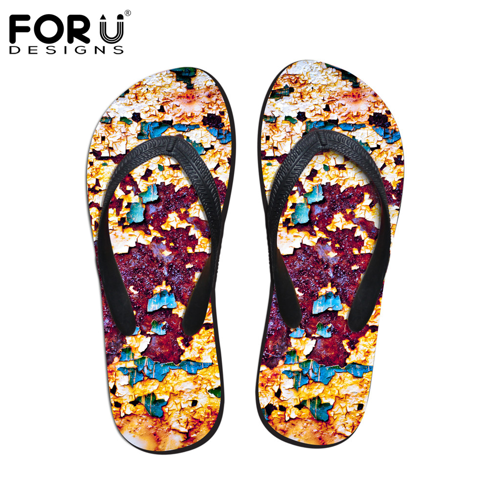 FORUDESIGNS Retro Brand Design Women Soft Rubber House Flipflops Fashion Summer Beach Slippers for Ladies Woman Flip Flops Mujer fashion boutique beige rubber soft front insole for ladies fit any shoes