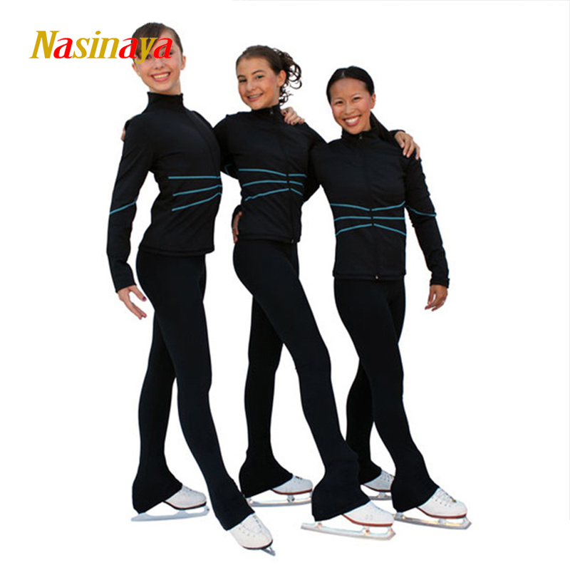 Costume Customized Ice Skating Figure Skating Suit Jacket And Pants Skater Warm Fleece Adult Child Girl Tops Thin Blue Stripes first sticker book ice skating