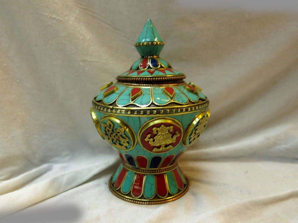 China antique copper hand made inlay gem Turquoise vase pot