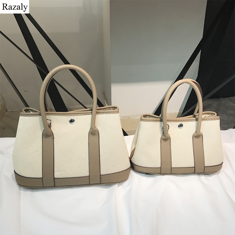 Razaly brand high quality large canvas tote ladies leather handle shopping bags vintage shoulder garden handbag bucket bolsa bao