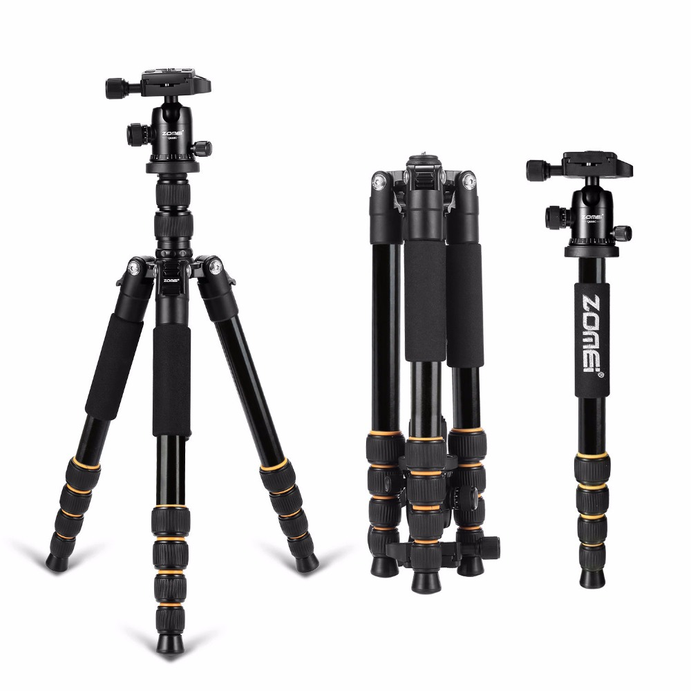 Zomei Q666 Lightweight Tripod For DSLR Camera Ball Head Monopod Tripod Compact Travel Camera Stand For Canon Nikon Sony SLR zomei z888 portable stable magnesium alloy digital camera tripod monopod ball head for digital slr dslr camera