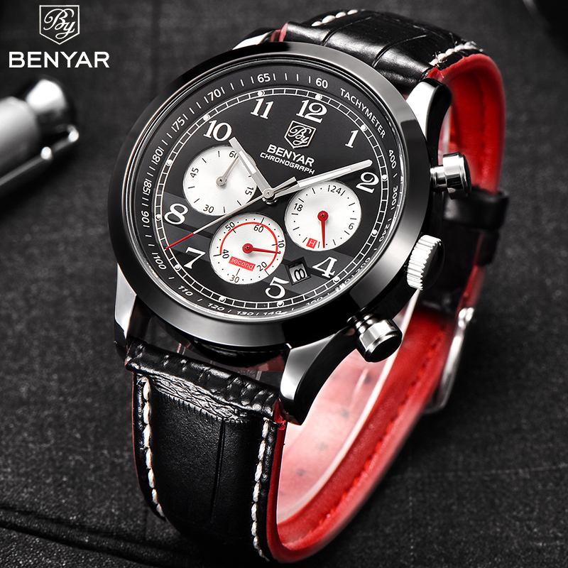 2018 New Luxury Brand BENYAR Men Sports Chronograph Watches Mens Leather Quartz Military Wrist watch Male Waterproof Clock 5107 benyar luxury top brand men watches sports military army quartz wrist watch male chronograph clock relogio masculino gift box