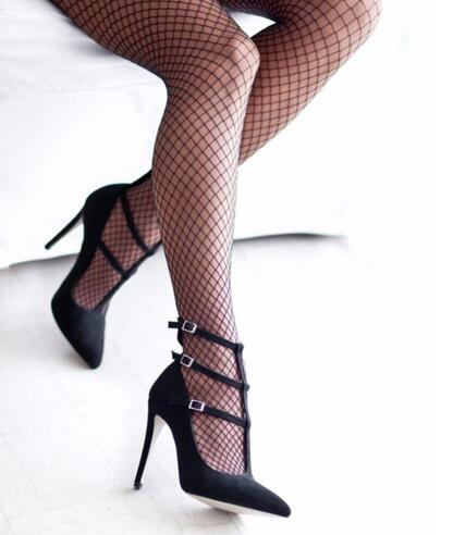 ФОТО Sexy Black Women Pumps Pointed Ankle Buckle Strap High Heels Roman Style Hollow Stiletto Party Wedding Dress Shoes