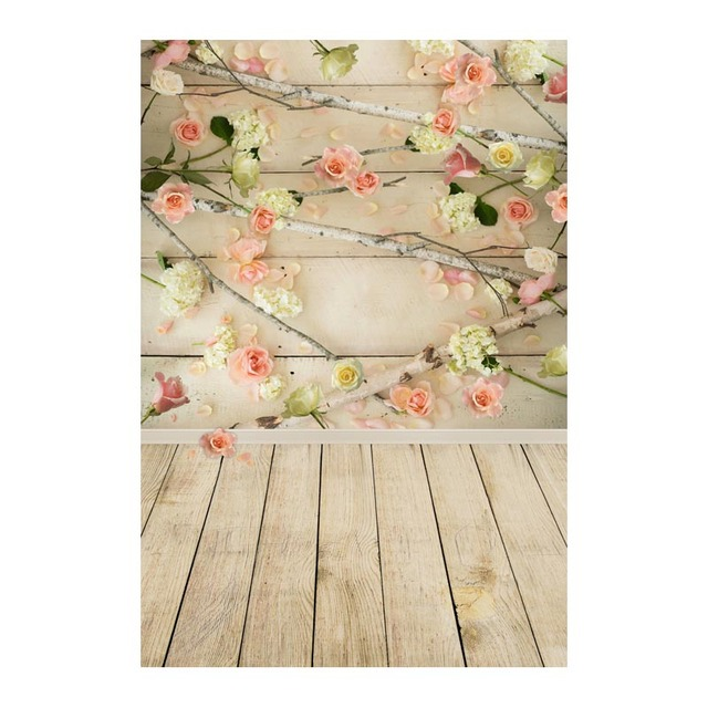Photography Backdrop romantic flower brick wooden wedding newborn baby photography background for photography studio CM-6698