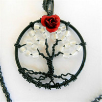 Tree Of Life Necklace Glow In The Dark Petite Rose Bud 2015 Hot Rose Flower Pendants
