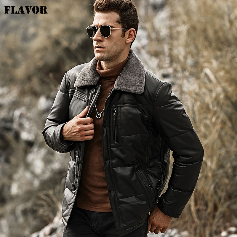Image 2 - FLAVOR Men's Duck Down Leather Jacket Men Lambskin Genuine Leather Jacket Winter Warm Down Coat with Removable Sheep Fur Collar-in Genuine Leather Coats from Men's Clothing