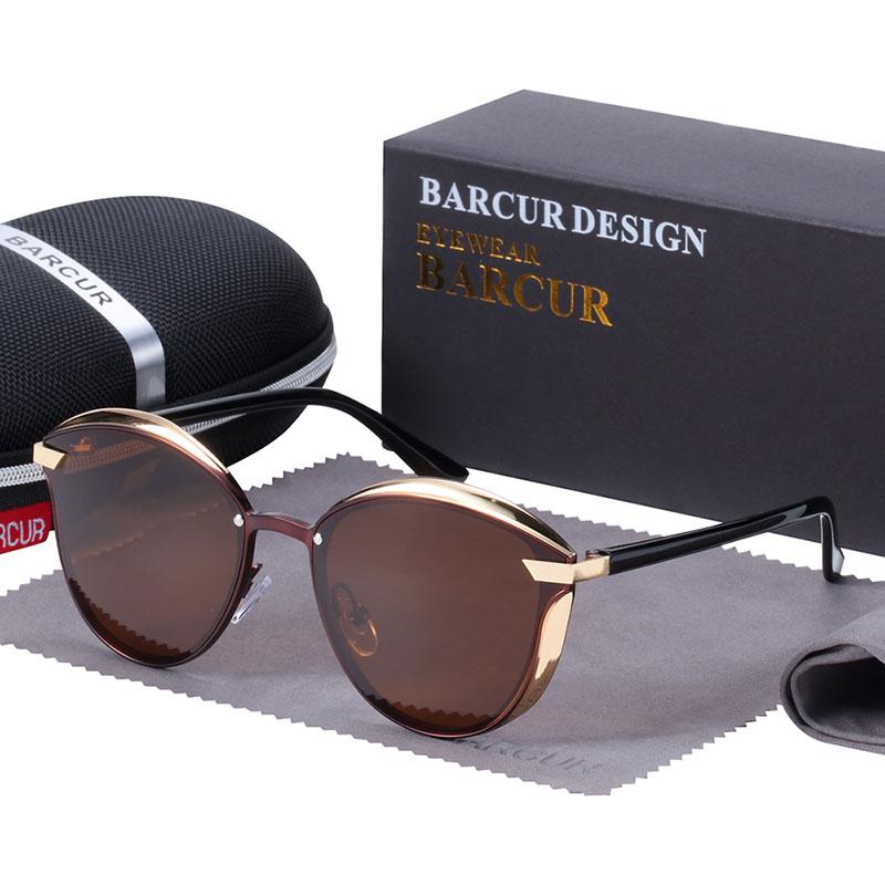 BARCUR Luxury Polarized Sunglasses Women Round Sun glassess Ladies lunette de soleil femme 9
