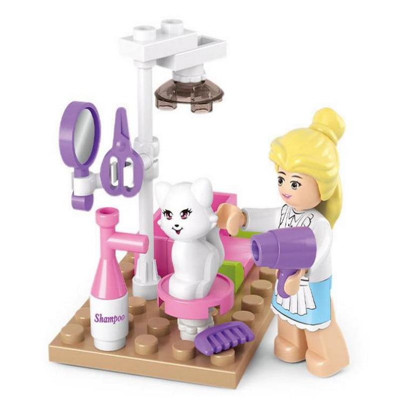 0515 SLUBAN Girl Friends Pet Grooming Store Model Building Blocks Enlighten DIY Action Figure Toys For Children Compatible Legoe