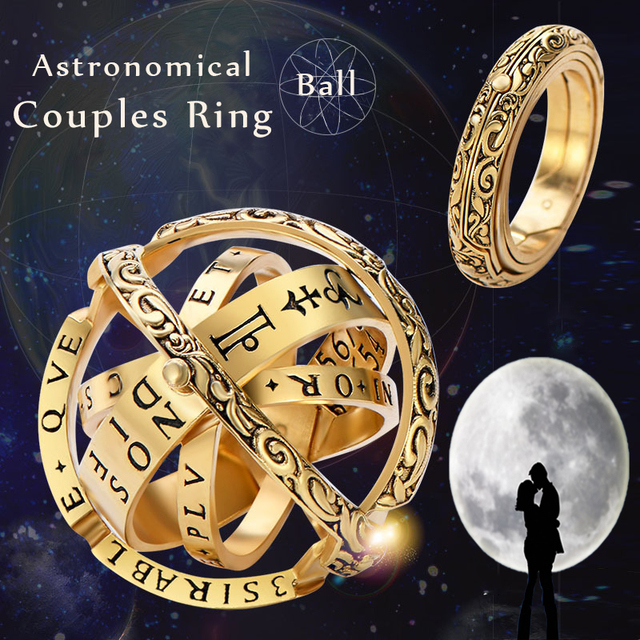 MLING 2019 New Gold Silver Sphere Rings Vintage Universe Planet Astronomical Ball Love Couple Ring