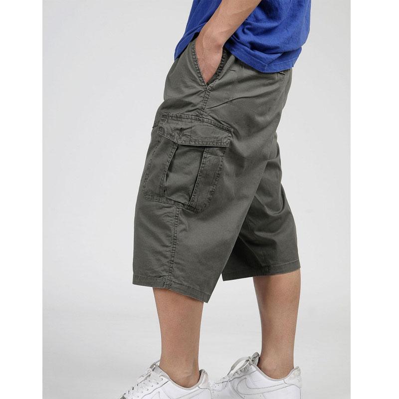 Mens Big Size Shorts Cargo Combat Elasticated Waist Pockets Half Pants 4XL-6XL
