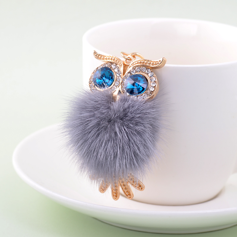 EASYA Cute Big Rhinestone Owl Keychain 3 Colors Lovely Fur <font><b>Pompom</b></font> Animal Owl <font><b>Key</b></font> Chain Women Bag Charm Pendant Car <font><b>Key</b></font> <font><b>Rings</b></font> image