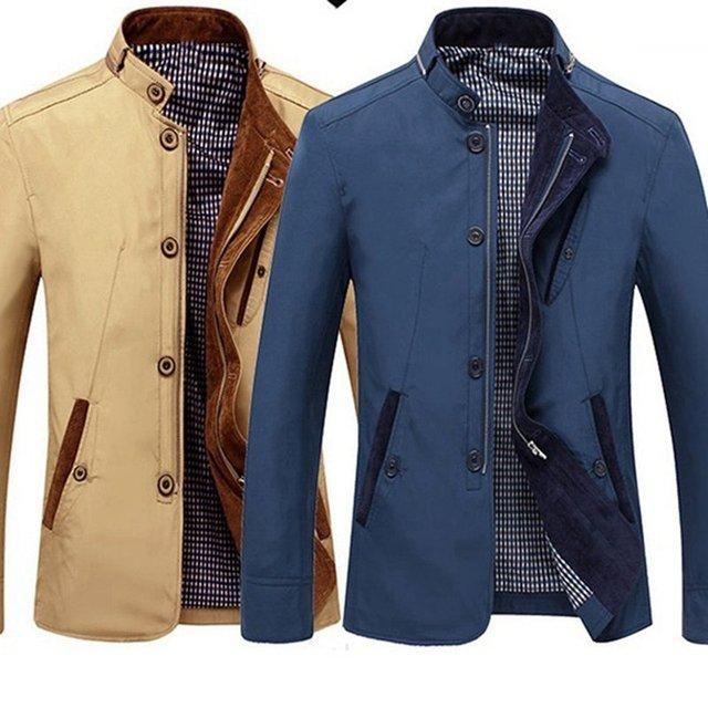FAISIENS High Quality Winter Plus Size 5XL Men Jackets Loose Men Business Office Jackets Zipper Khaki Blue Casual Simple Coat
