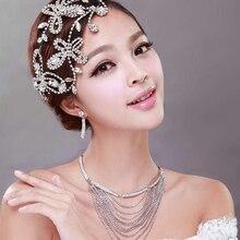 Accesorios Wedding Bride mariposa hechos a mano de la aleación joyería collar de cadena del Rhinestone pendientes boda set