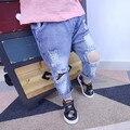 2017 Весна горячая новая мода мальчиков и девочек хлопка случайные отверстия дети джинсы выбрать размер
