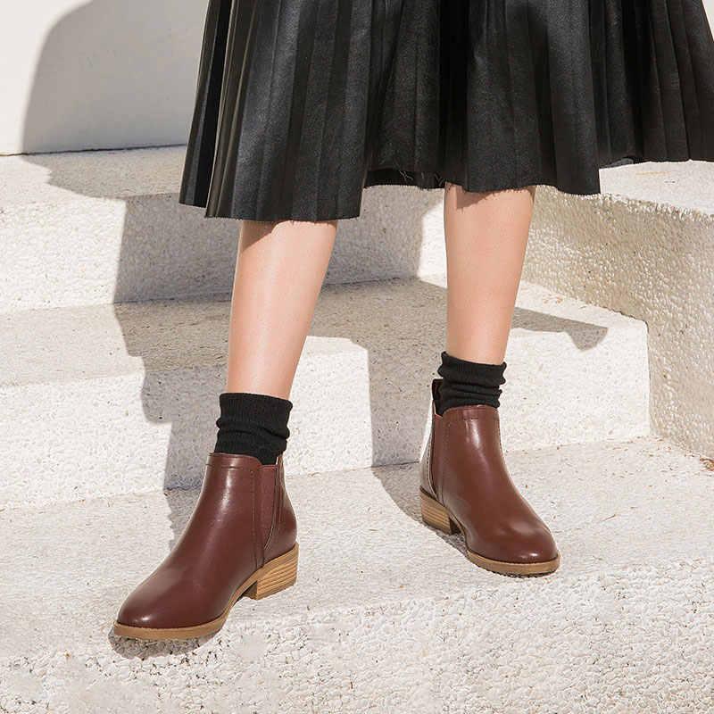 BeauToday Kadın Chelsea Çizmeler Elastik Hakiki Deri Dana Derisi Bahar Sonbahar Ayak Bileği Uzunluğu Bayan botları El Yapımı 03237