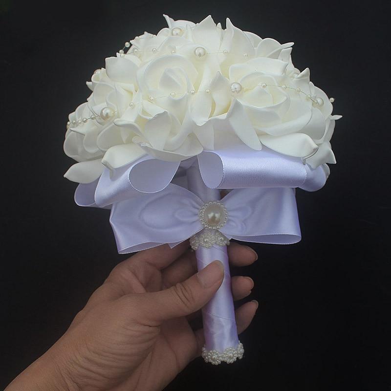 12 color pop pure white flower pe foam wedding bouquet de mariage 12 color pop pure white flower pe foam wedding bouquet de mariage wedding bouquets pe rose diamond ribbon bouquet w2017p in artificial dried flowers from mightylinksfo