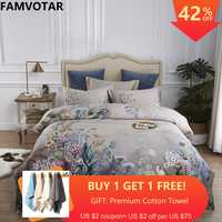 Famvotar Botanical Flower Print Bedding Set 600tc Egyptian Cotton Bed Linen Antique Floral Pastoral Duvet Cover Bedspread Set