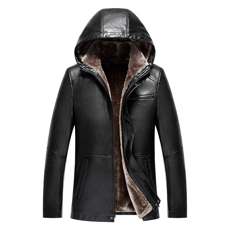 8887 nouvelle mode en peau de mouton en cuir véritable à capuche manteau d'hiver en fourrure d'agneau manteau en cuir veste hommes vêtements d'hiver