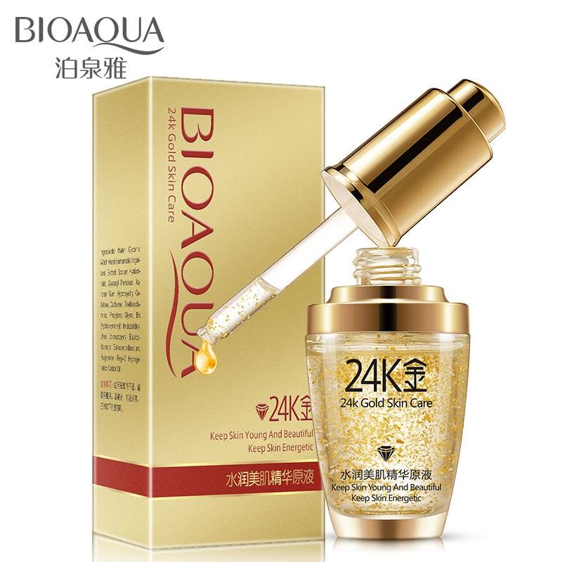 лучшая цена BIOAQUA Pure 24k Gold Essence Face Serum Skin Care Anti Wrinkle Anti Aging Collagen Whitening Moisturizing Day & Night Cream