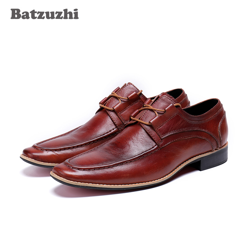 Batzuzhi Comfortable Genuine Leather Men Oxford 2018 New Mens Shoes Lace-Up Brown Business Dress Shoes Men Casual Zapatos Hombre new fashion men shoe genuine leather lace up mixed colors man dress business casual shoes zapatillas deportivas zapatos hombre page 5