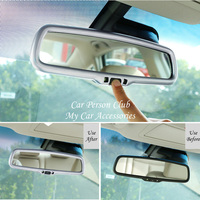 For Mitsubishi Outlander 2013 2017 2018 Inner Rear View Mirror Trims Cover Molding Protectors ABS Chrome Car Styling Accessories