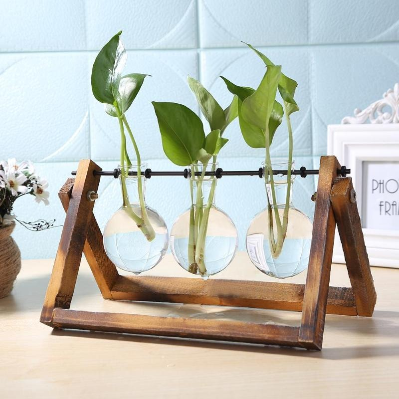 Verre et Bois Vase Planteur Terrarium Table De Bureau Hydroponique Plante Bonsaï Pot De Fleur Pots Suspendus avec Plateau En Bois Décor À La Maison