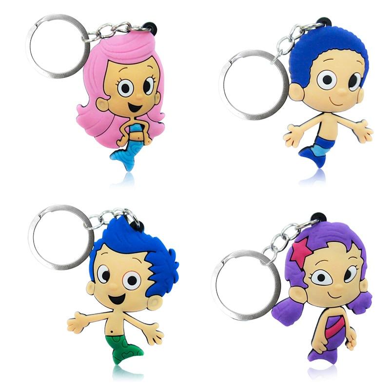 1PCS Bubble Guppies PVC Keychains Cartoon Figure Key Ring Cute Key Holder Children DIY Toy Pendant Xmas  Party Gifts