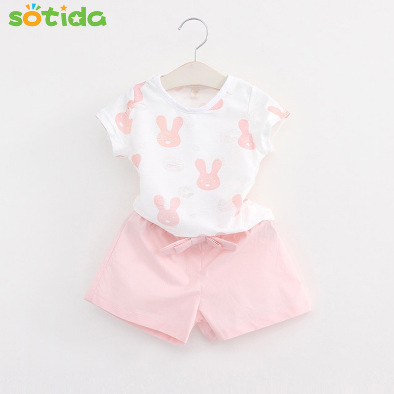 2018 New Girls Summer Casual Clothes Set Children Short Sleeve Cartoon T-shirt + Short Pants Suits  Girl Clothing Sets for Kids