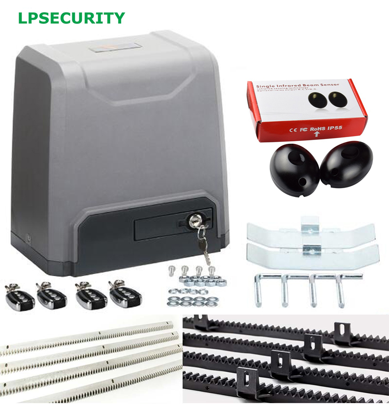 LPSECURITY 1500KG 3200LBS 4 REMOTE CONTROL AUTOMATIC SLIDING GATE OPENER motor with 4,5,6m racks 1 beam photocells automatic remote control sliding gate motor opener kit with magentic limit switch driving less than 800kgs portal for access