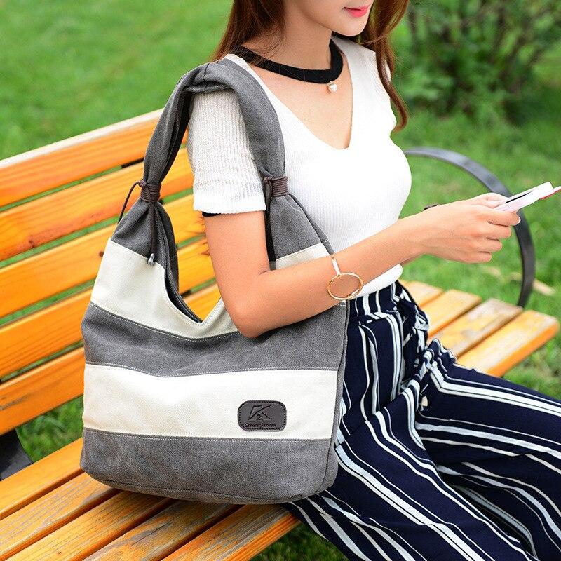 Women's Bag Stripe Single Shoulder Bag Canvas Simple Leisure Handbag Large Shopping Bag
