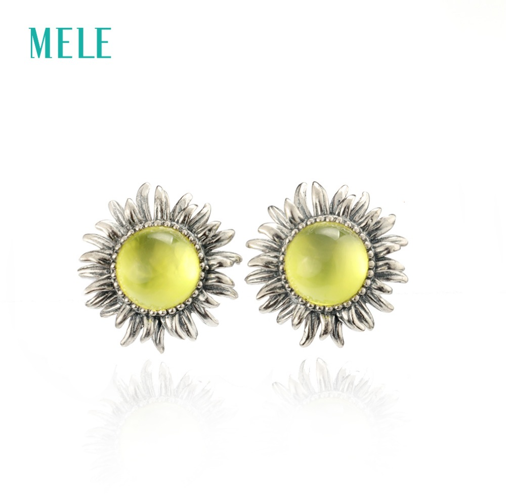 все цены на MELE Natural yellow prehnite silver earring , round 8mm, sunflower design, top quality for women's earring, retail and wholesale онлайн