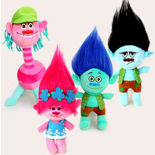 4Pcs/Set 23cm Trolls cartoon movie & tv  Figure  plush Dolls Trolls  doll  toys fashion doll  children gift in-stock items