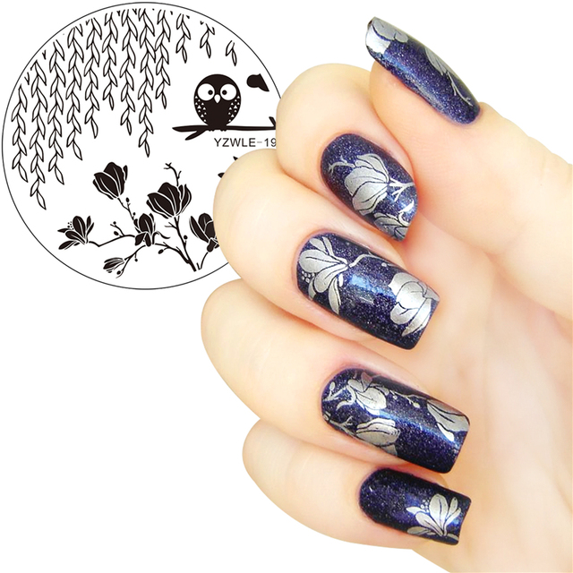 5.5cm Round Nail Art Stamp Stamping Plates Template Owl Switchgrass Flower Design Image Plate Stencil for Nails