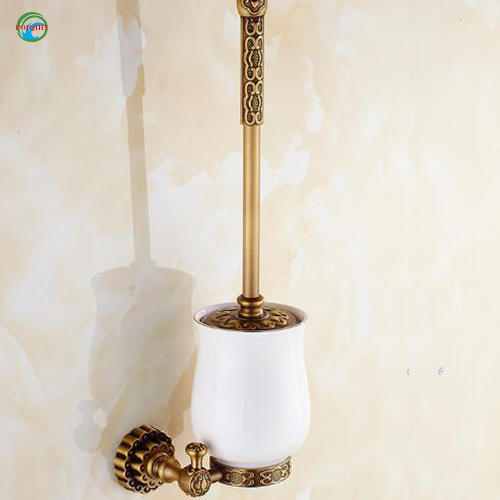 High-end Carving Wall Mounted Toilet Cleaning Brush Antique Brass Toilet Brush Holder Free Shipping Wholesale and Retail high end carving wall mounted toilet cleaning brush brass toilet brush holder free shipping wholesale and retail fe 8610