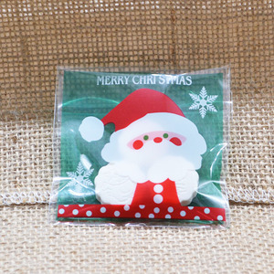Image 3 - 50pcs 10x10cm Christmas Cookie Candy Gift Bags Plastic Self adhesive Biscuits Snack Packaging Bags Xmas Decoration Favors
