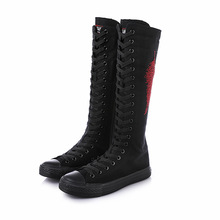 Fashion hot drilling leaves wild dance dancing lace side zipper super high boots canvas shoes