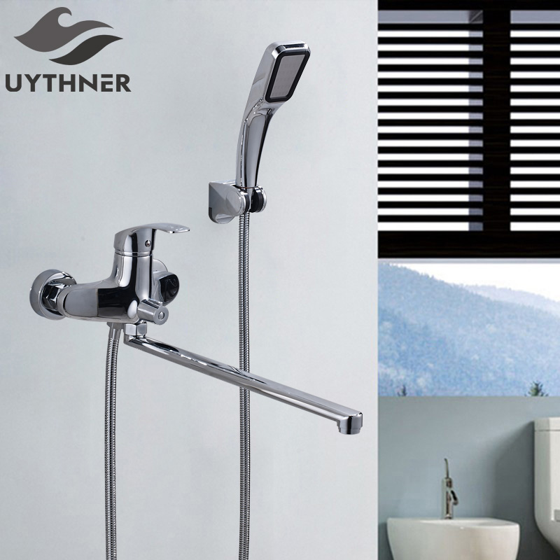 Uythner Nwe Style Solid Brass Bathroom Shower Faucet & Bathtub Faucet Wall Mounted Mixer Tap Chrome Finish thermostatic bathroom shower faucet solid brass bathtub mixer tap chrome finish wall mounted